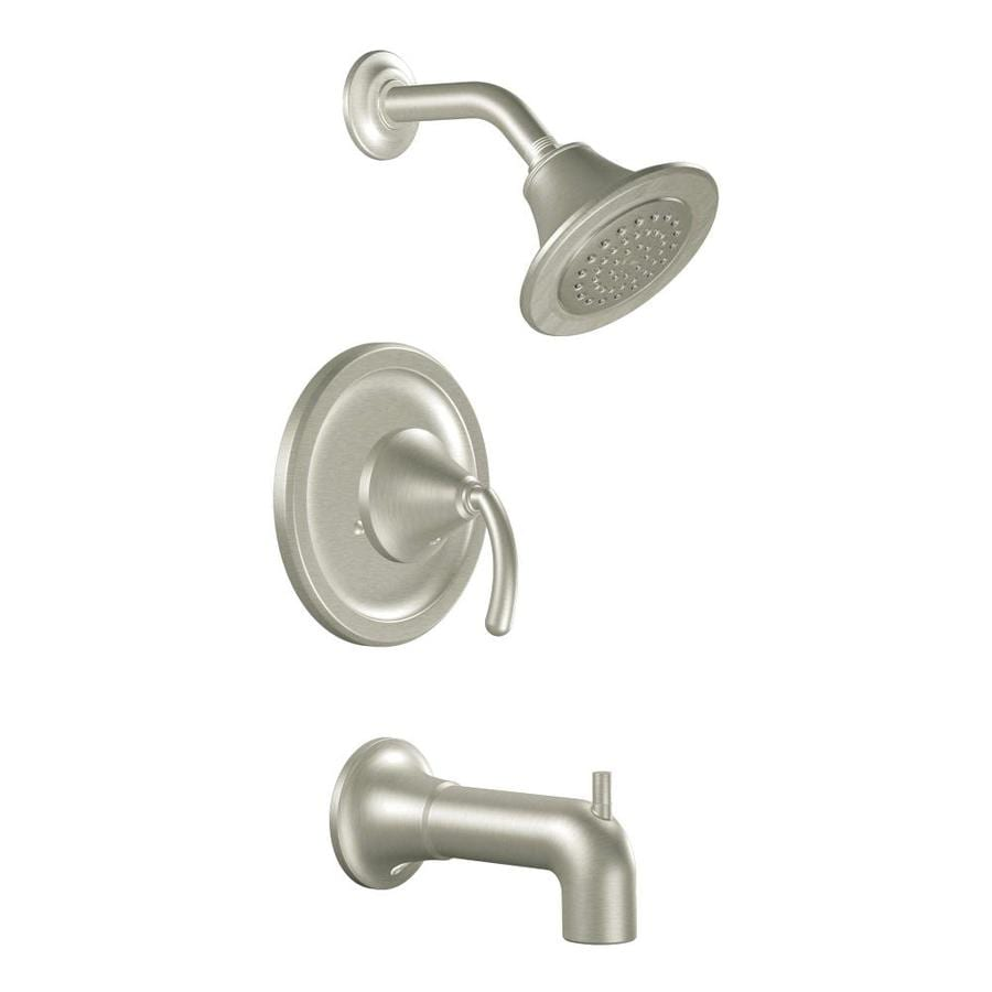 Moen Icon Brushed Nickel 1-Handle Bathtub and Shower Faucet Trim Kit with Single Function Showerhead