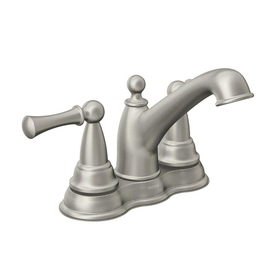 Moen Sage Spot Resist Brushed Nickel 2-Handle 4-in Centerset WaterSense Bathroom Faucet (Drain Included)