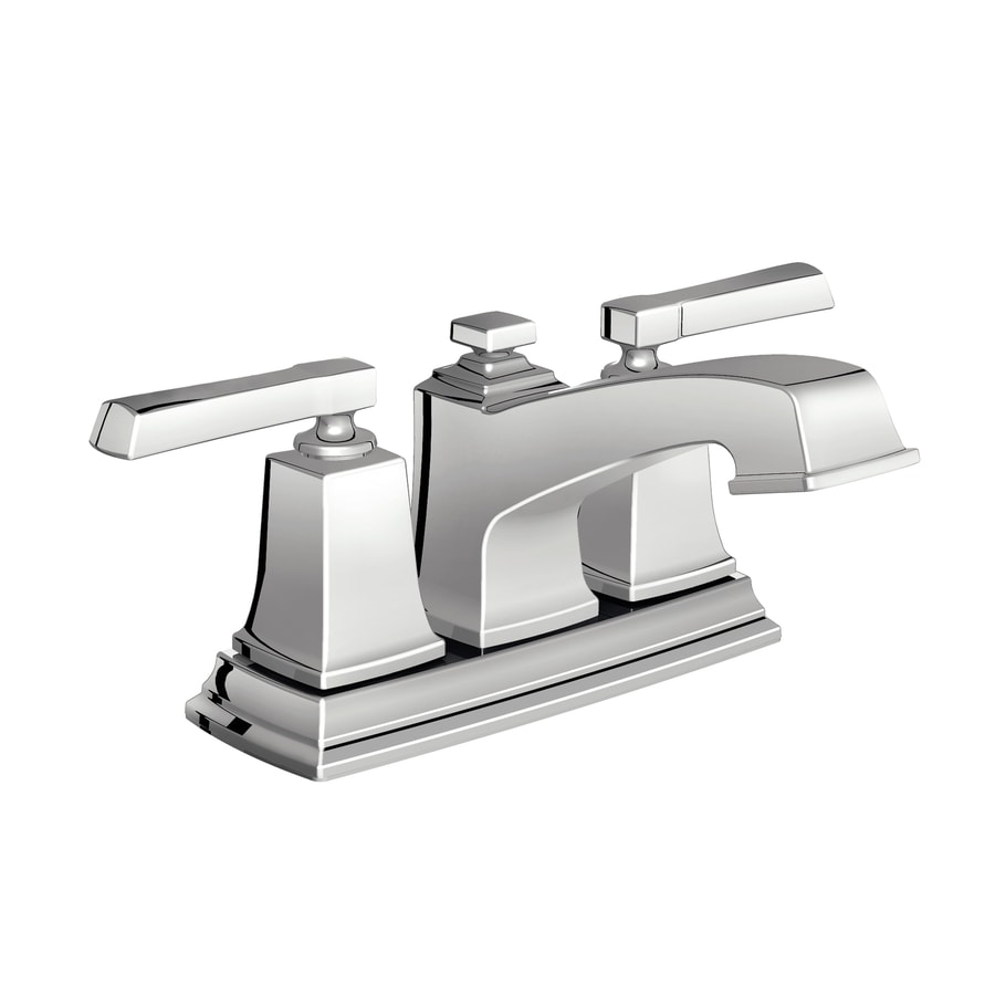 Moen Boardwalk Chrome 2-Handle 4-in Centerset WaterSense Bathroom Faucet (Drain Included)