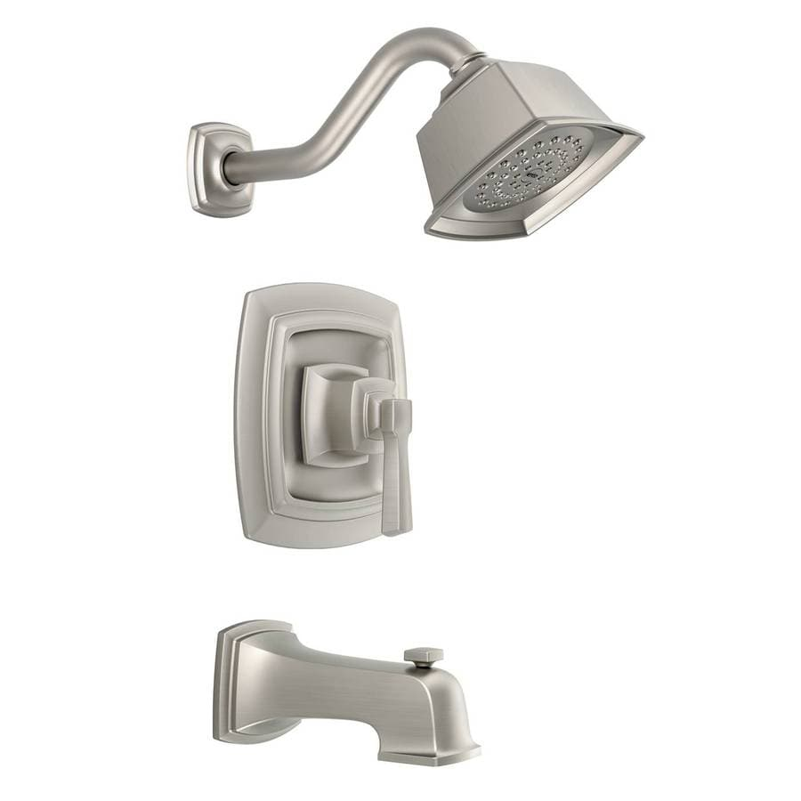 Shop Moen Boardwalk Spot Resist Brushed Nickel 1 Handle Bathtub And Shower Faucet With Single