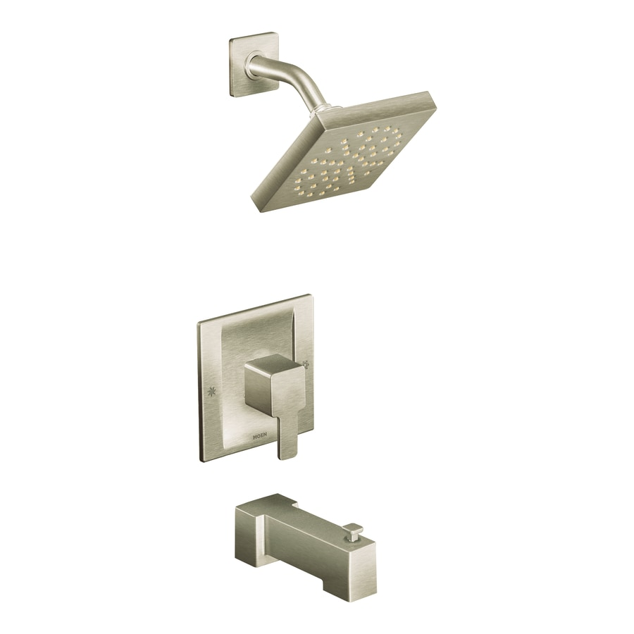Moen 90 Degree Brushed Nickel 1-Handle WaterSense Bathtub and Shower Faucet with Single Function Showerhead