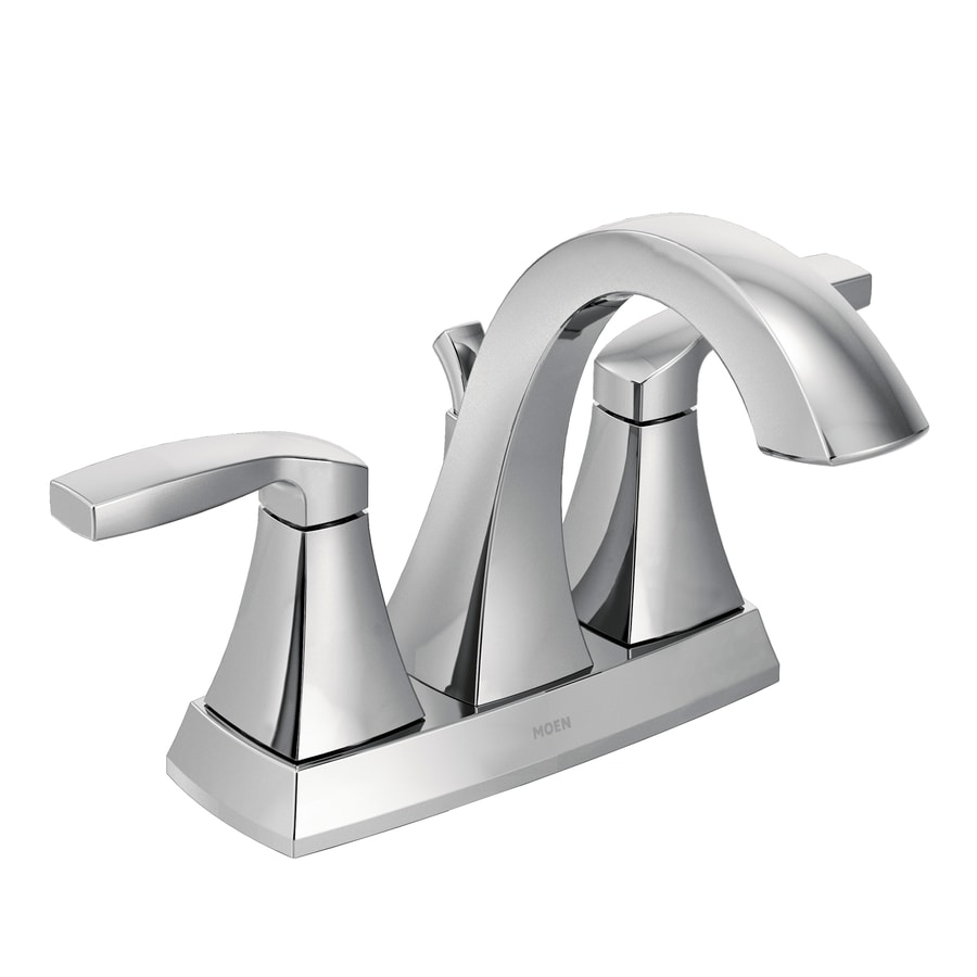 Moen Voss Chrome 2-Handle 4-in Centerset WaterSense Bathroom Faucet (Drain Included)