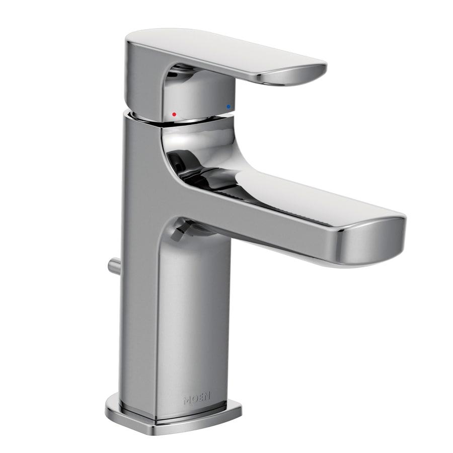Moen Rizon Chrome 1-Handle 4-in Centerset WaterSense Bathroom Faucet (Drain Included)