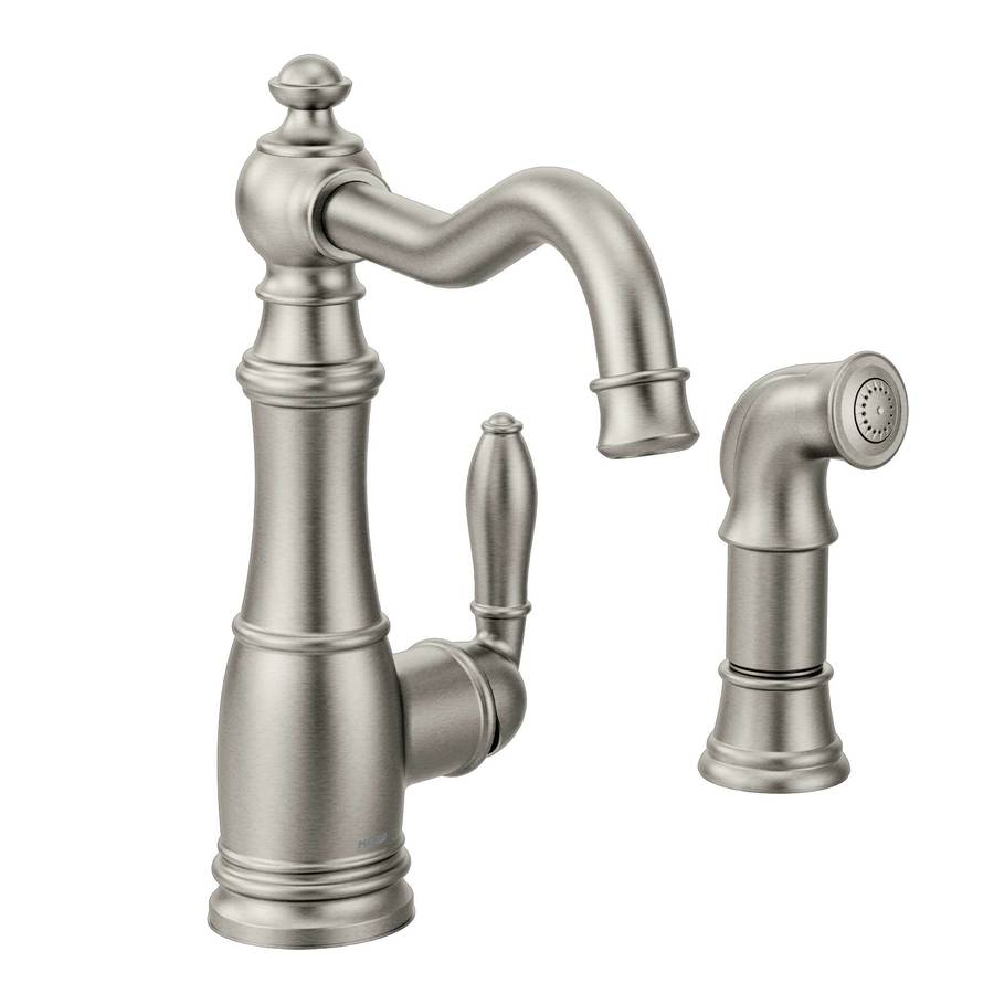 Shop Moen Weymouth Spot Resist Stainless 1 Handle High Arc Kitchen Faucet With Side Spray At