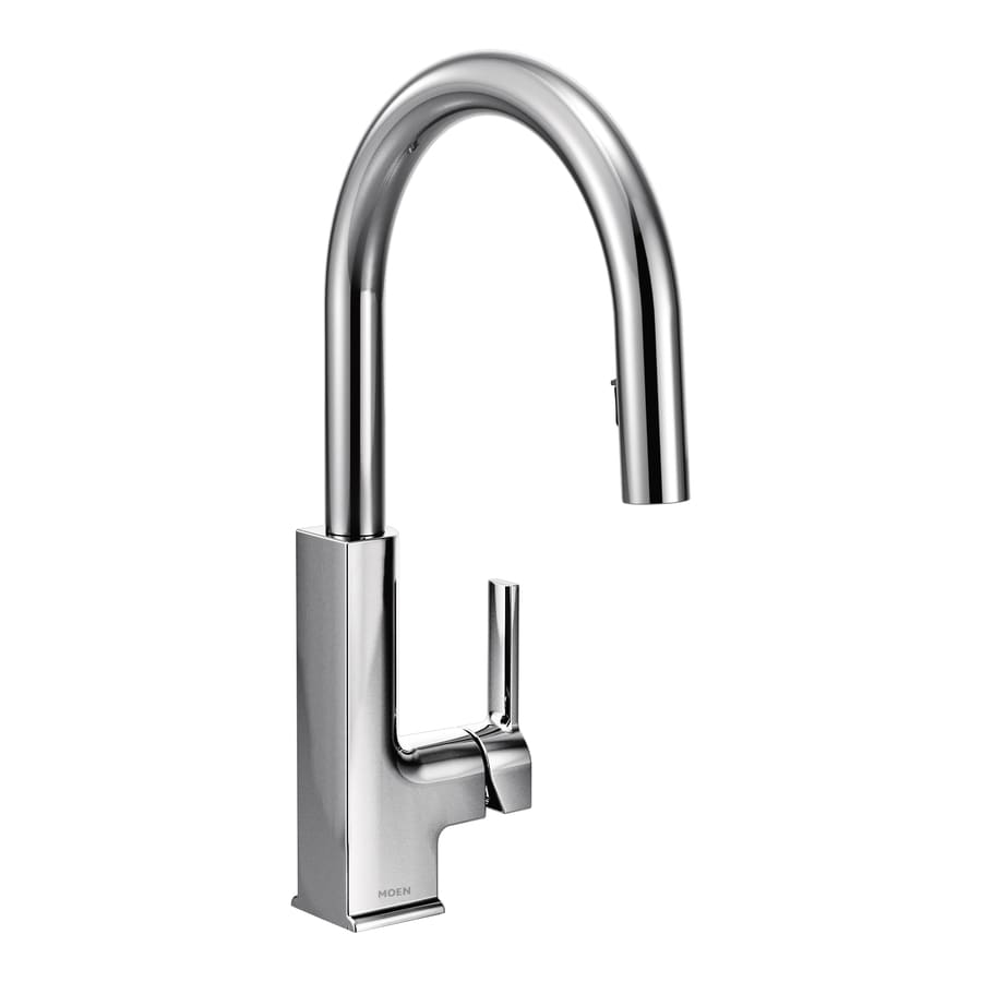 Shop Moen Sto Chrome 1 Handle Pull Down Kitchen Faucet At