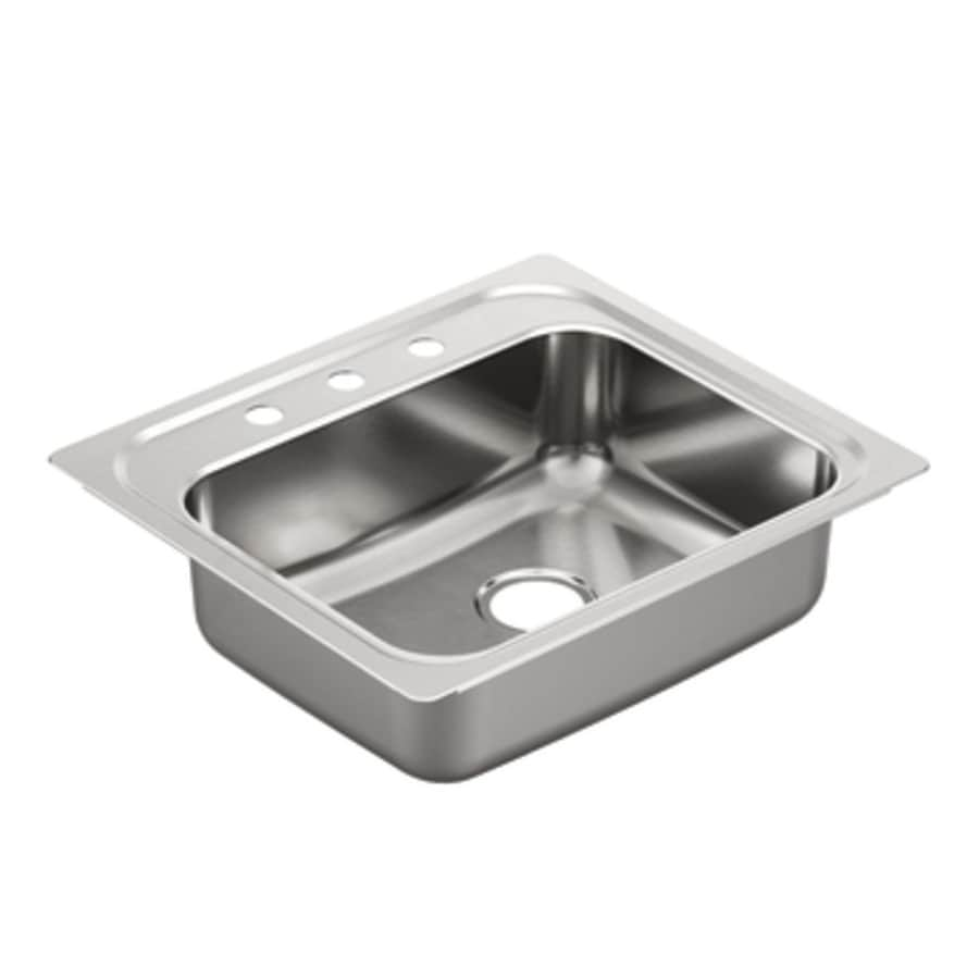 Moen 2000 Series 22-in x 25-in Stainless Steel Single-Basin Drop-In 3-Hole Residential Kitchen Sink