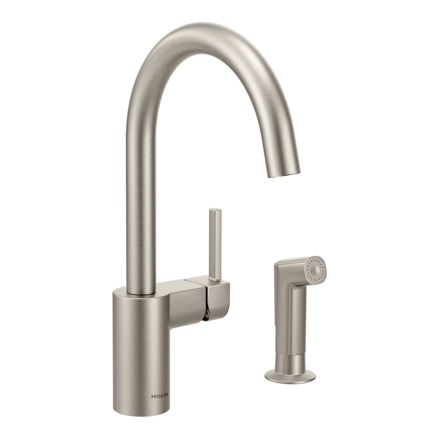 Shop Moen Align Spot Resist Stainless 1 Handle High Arc Kitchen Faucet With Side Spray At