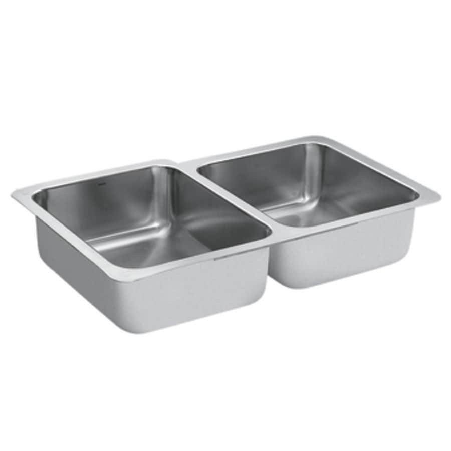 Moen 1800 Series 20.5-in x 32-in Stainless Steel Double-Basin Undermount Residential Kitchen Sink