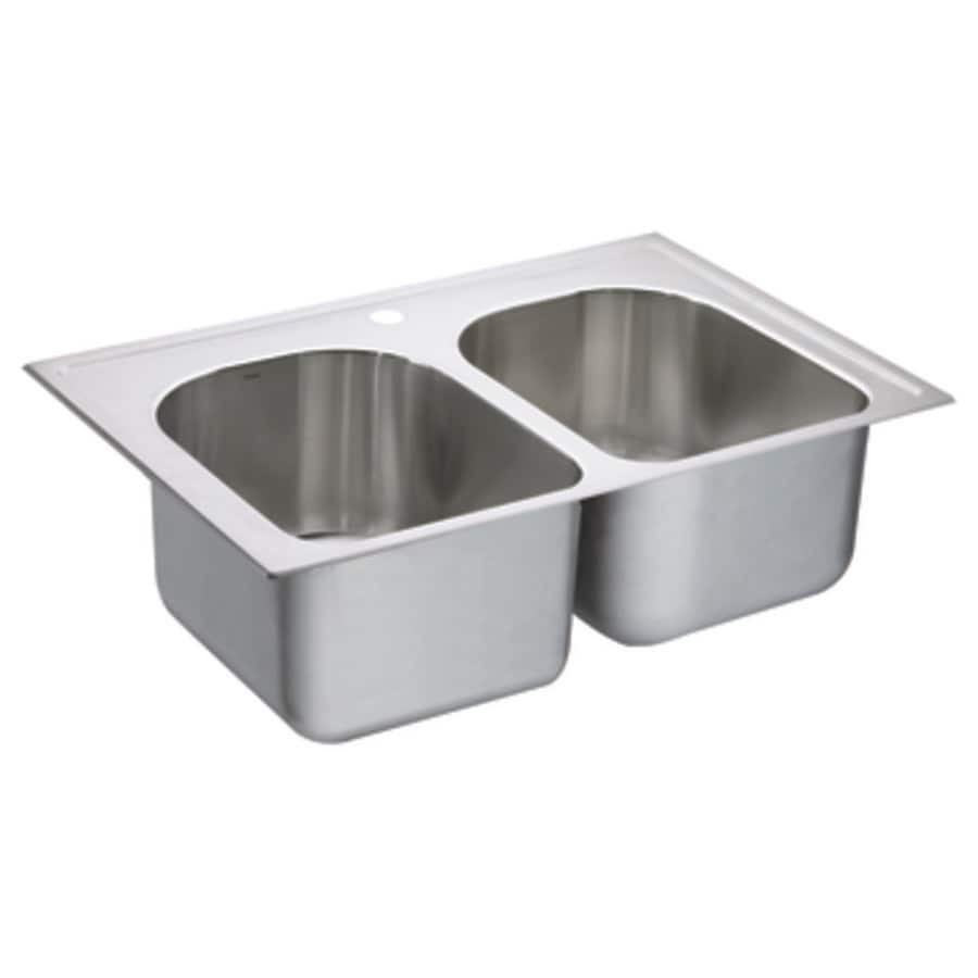 Moen 1800 Series 22-in x 33-in Stainless Steel Double-Basin Drop-In 1-Hole Residential Kitchen Sink