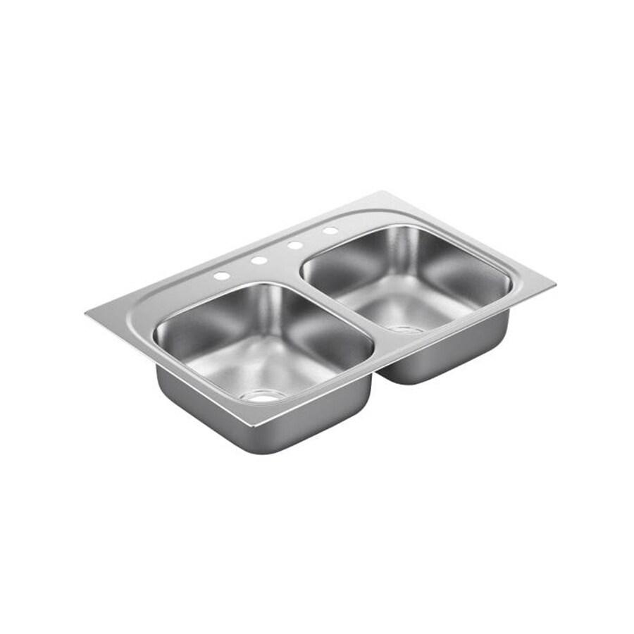 Moen 2200 Series 22-in x 33-in Stainless Steel Double-Basin Drop-In 4-Hole Residential Kitchen Sink