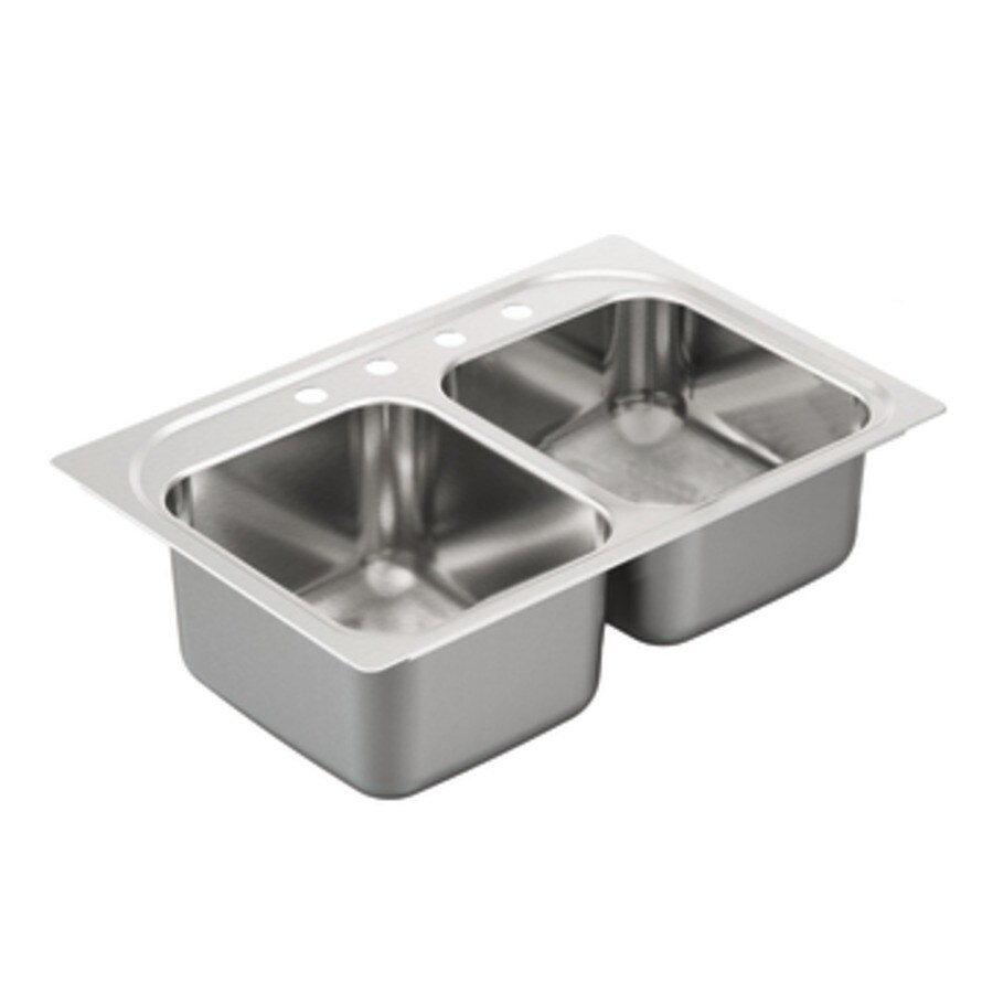 Shop Moen 2000 Series 22 In X 33 In Stainless Steel Double