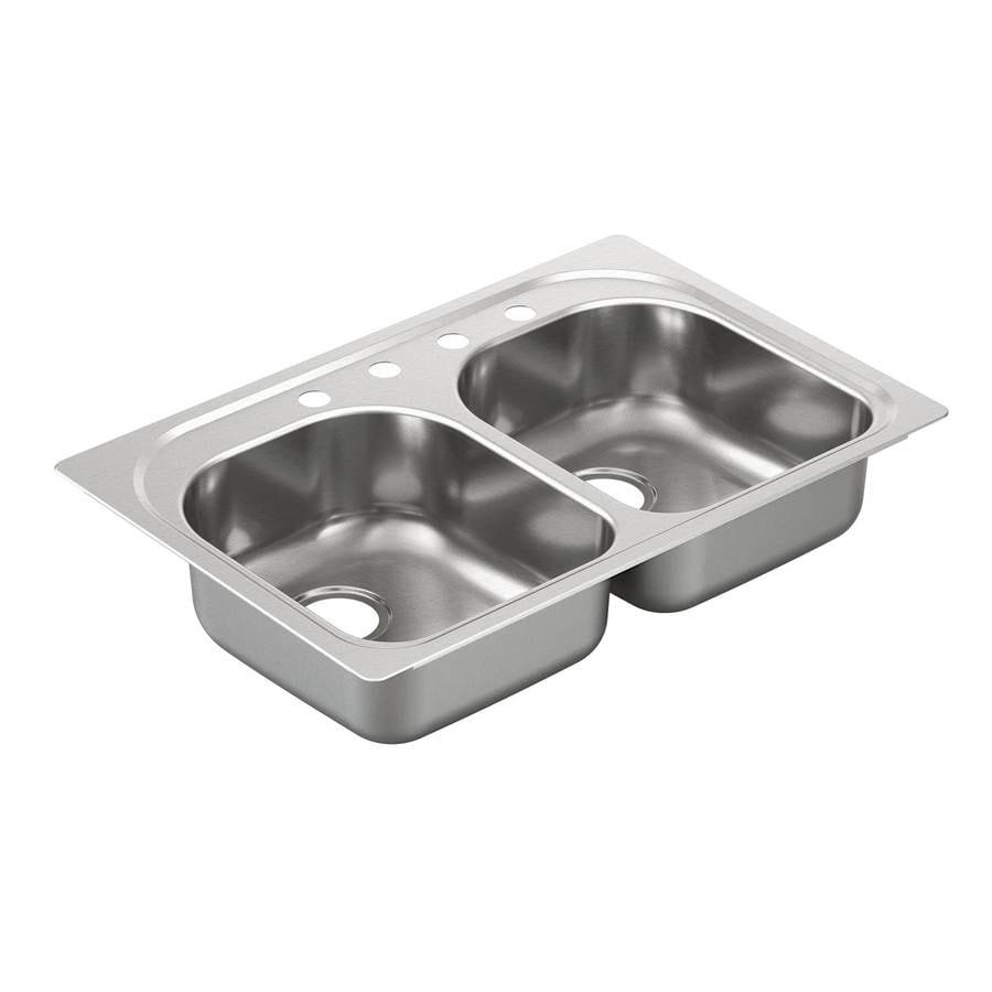Moen 2000 Series 22-in x 33-in Stainless Steel Double-Basin Drop-In 4-Hole Residential Kitchen Sink