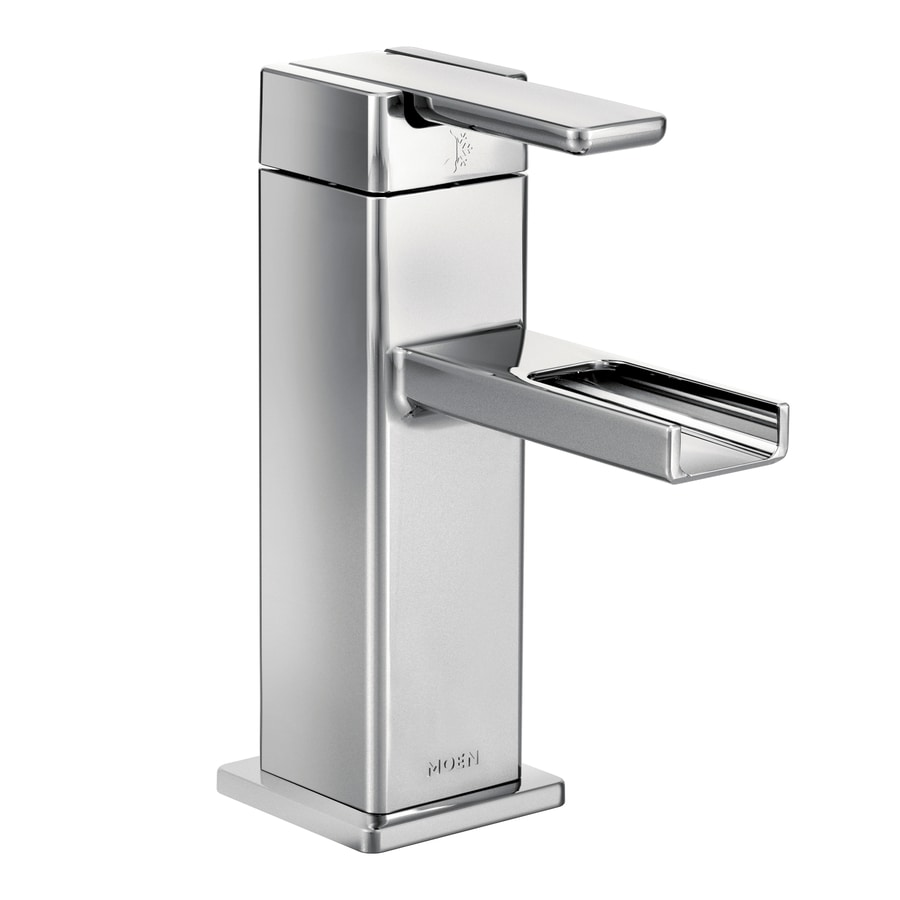 Shop Moen 90 Degree Chrome 1 Handle Single Hole Watersense Bathroom Faucet Drain Included At