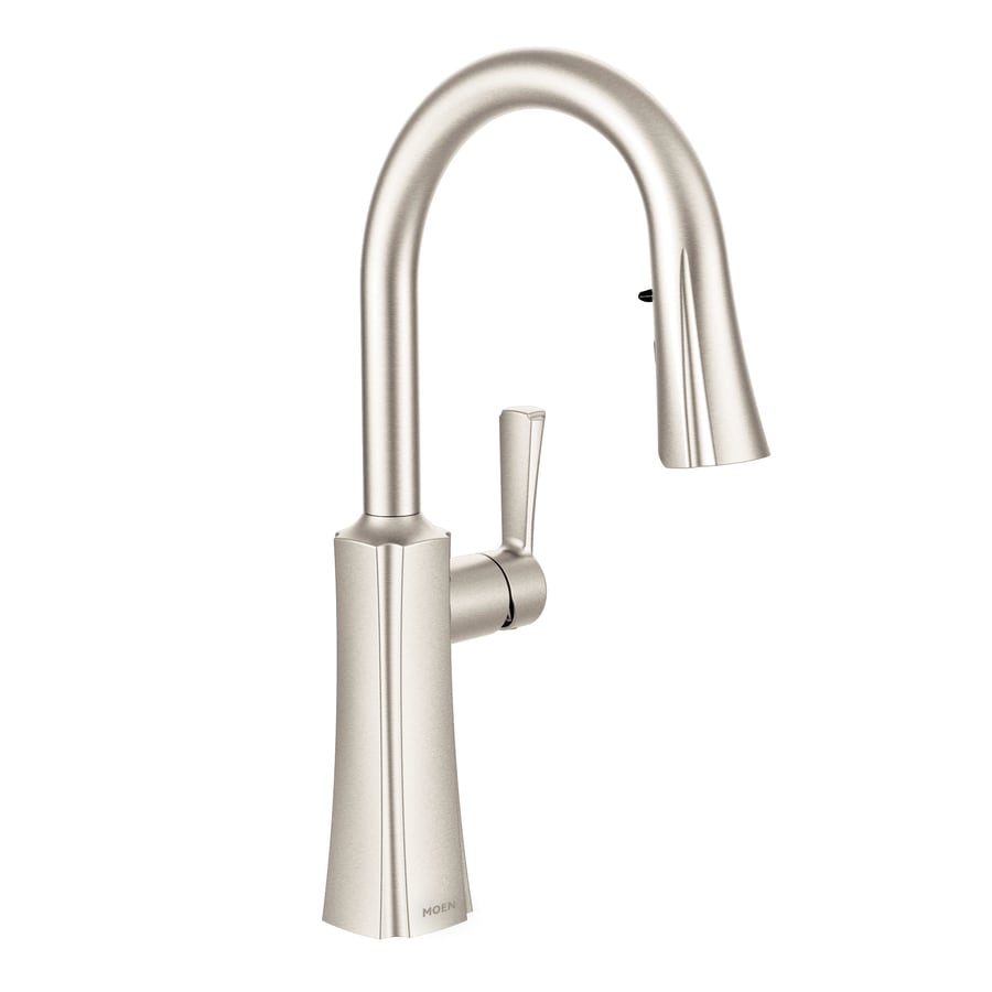 Shop Moen Etch Spot Resist Stainless 1 Handle Pull Down Kitchen Faucet At