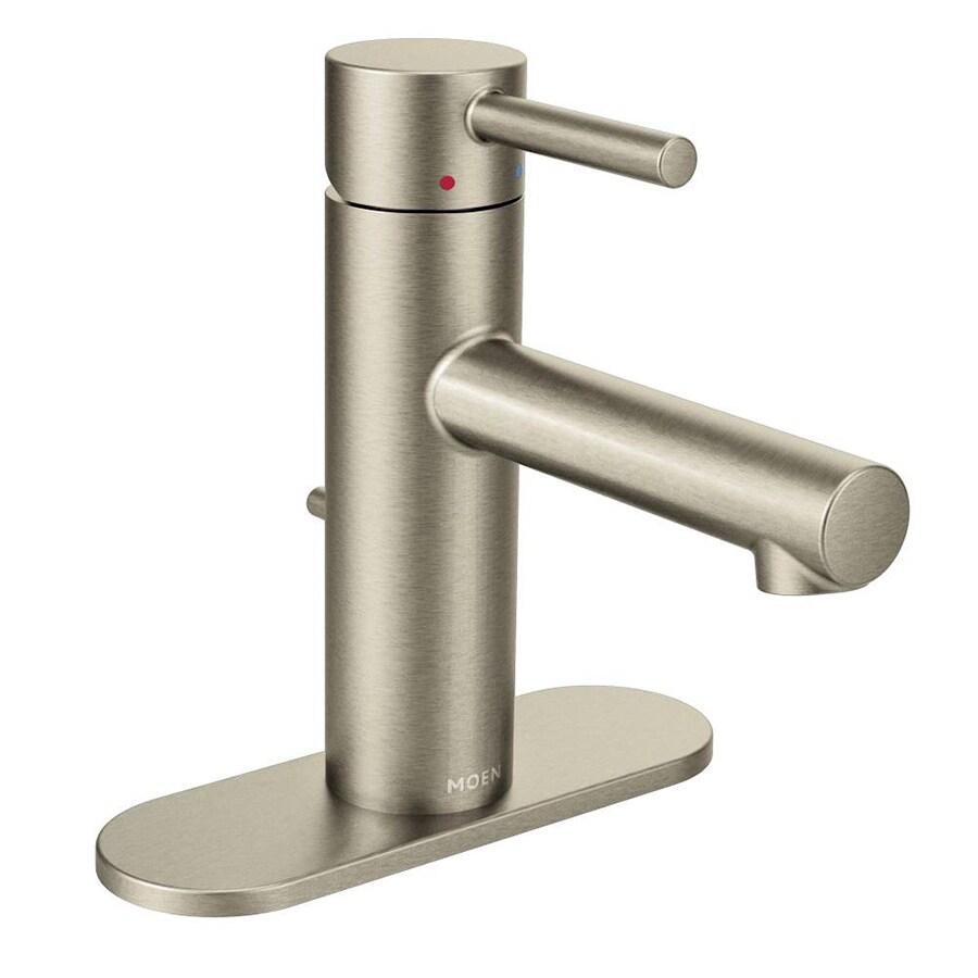 Moen Align Brushed Nickel 1-Handle Single Hole WaterSense Bathroom Faucet (Drain Included)