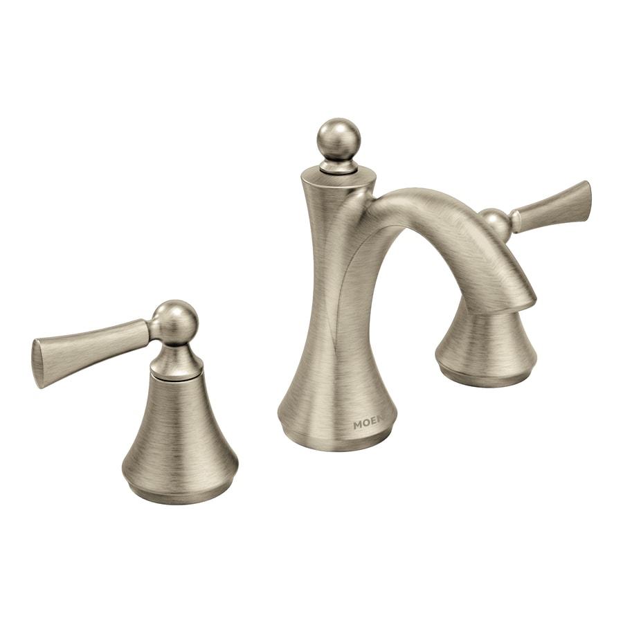 Moen Wynford Brushed Nickel 2-Handle Widespread WaterSense Bathroom Faucet (Drain Included)
