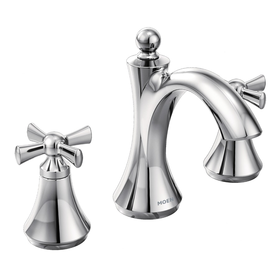 Shop Moen Wynford Chrome 2 Handle Widespread Watersense Bathroom Faucet Drain Included At