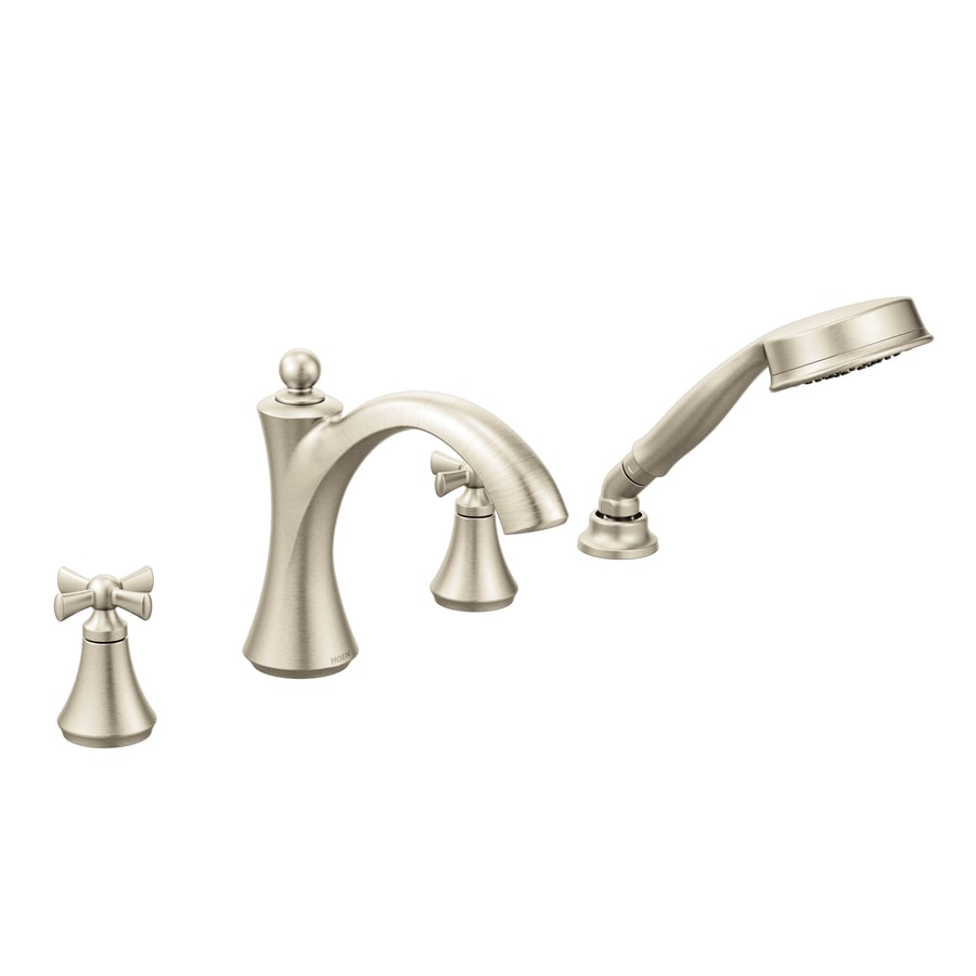Moen Wynford Brushed Nickel 2-Handle Fixed Deck Mount Bathtub Faucet