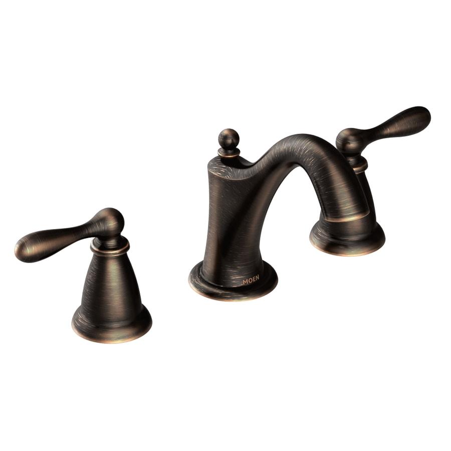 Moen Caldwell Mediterranean Bronze 2-Handle Widespread WaterSense Bathroom Faucet (Drain Included)