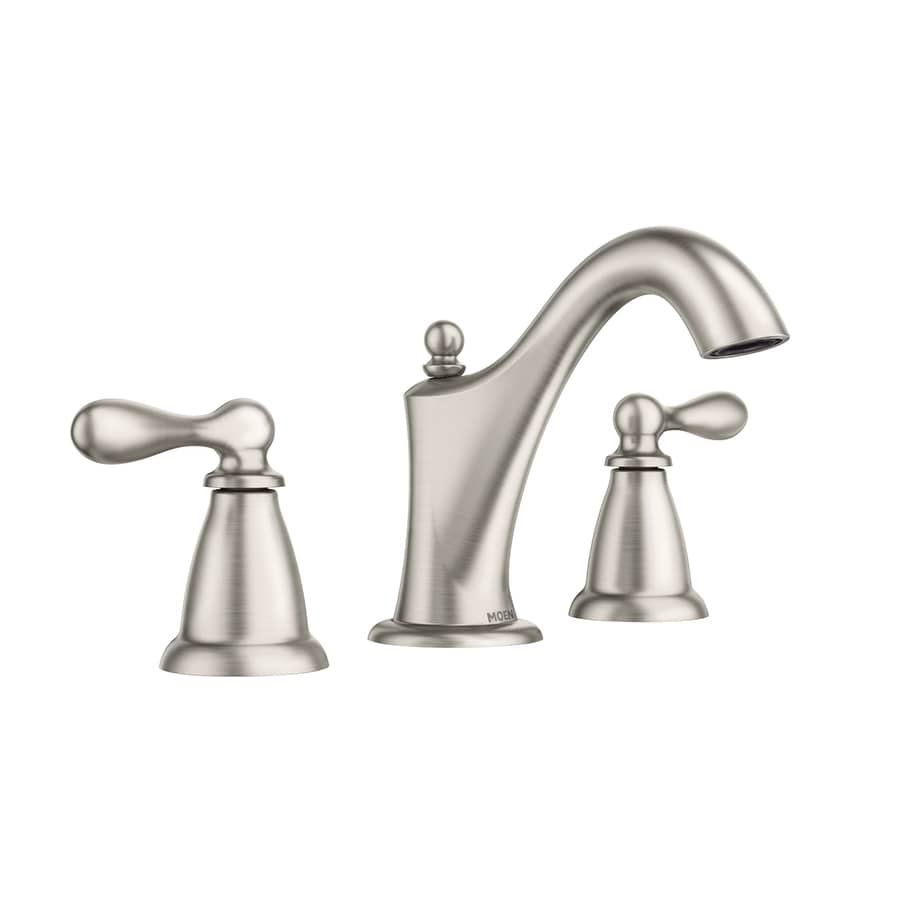 Shop moen caldwell spot resist brushed nickel 2 handle for Pictures of bathroom faucets