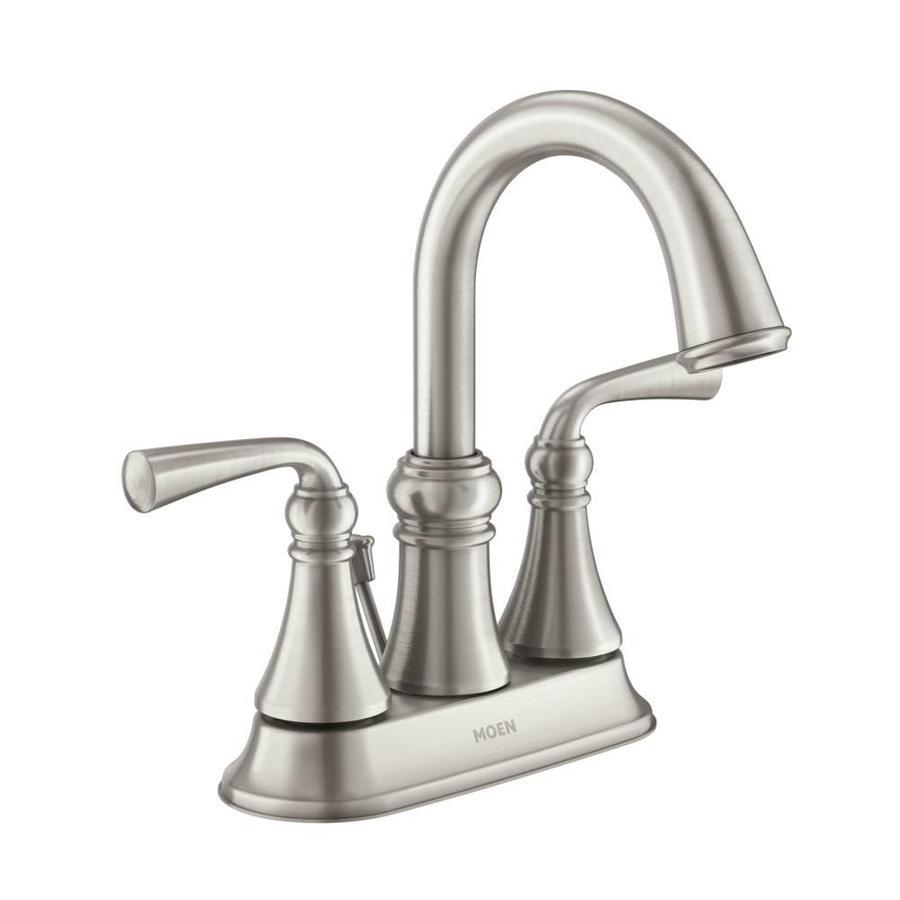 Moen Wetherly Spot Resist Brushed Nickel 2-Handle 4-in Centerset WaterSense Bathroom Faucet (Drain Included)