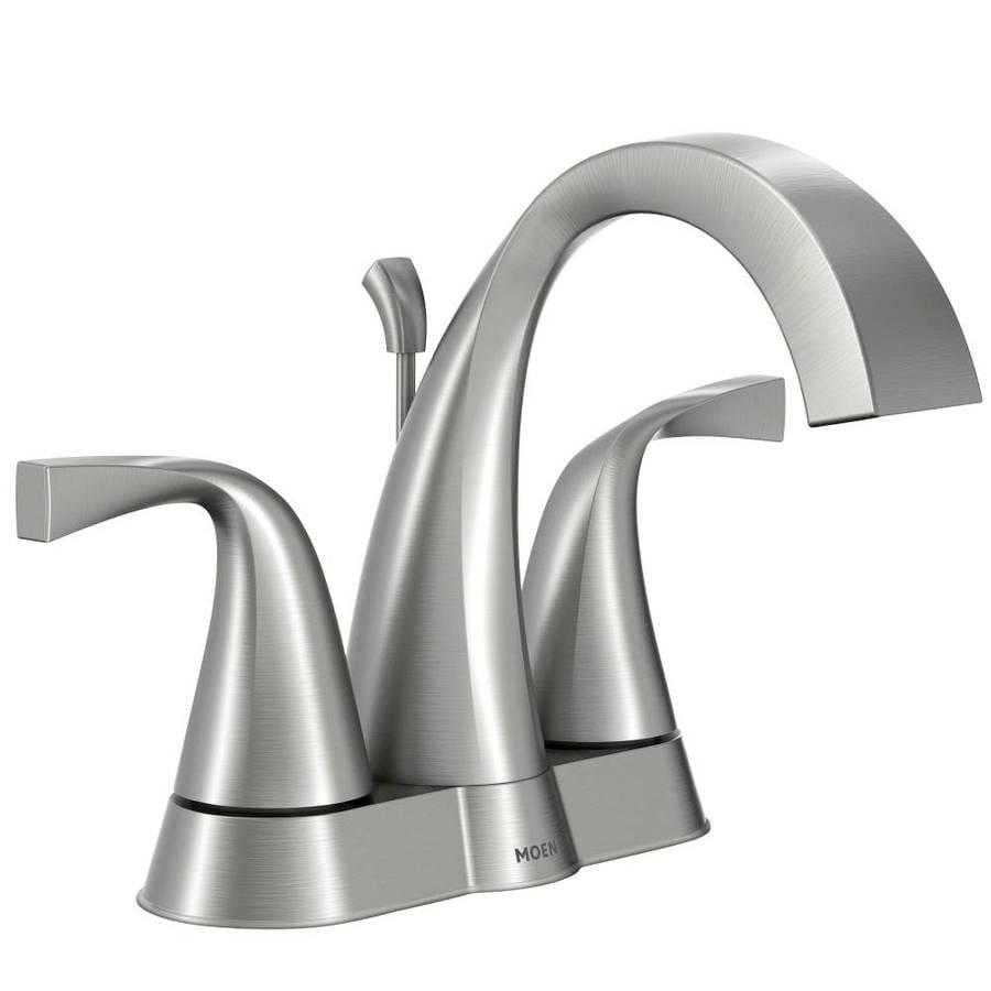 Moen Oxby Spot Resist Brushed Nickel 2-Handle 4-in Centerset WaterSense Bathroom Faucet (Drain Included)