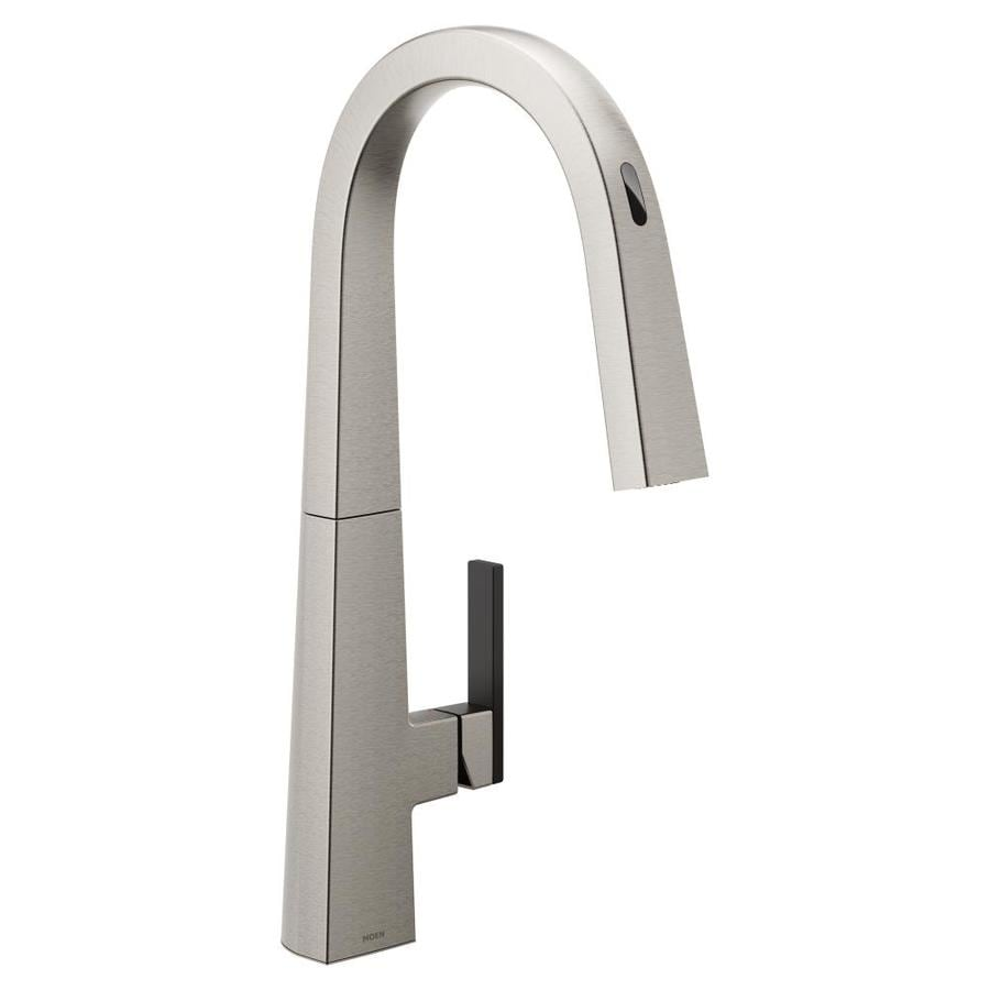 Moen U By Moen Spot Resist Stainless 1 Handle Deck Mount High Arc Touch Touchless Kitchen Faucet Deck Plate Included In The Kitchen Faucets Department At Lowes Com