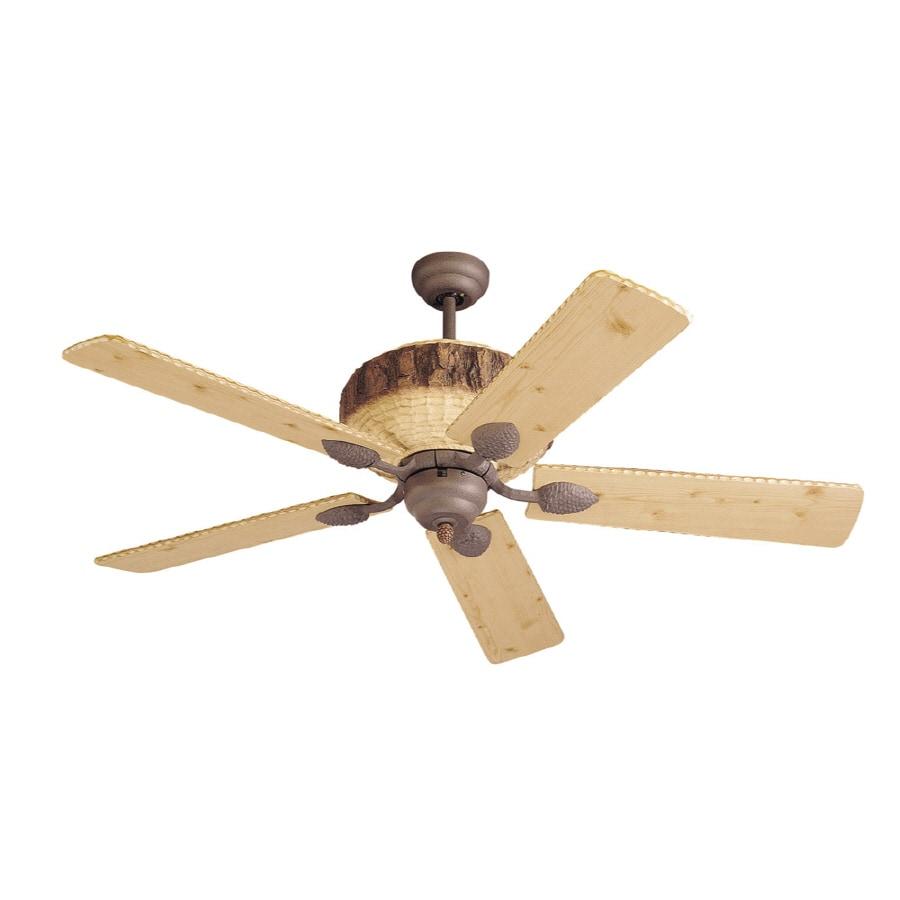 Monte Carlo Fan Company Great Lodge 52-in Weathered Iron Downrod Mount Ceiling Fan