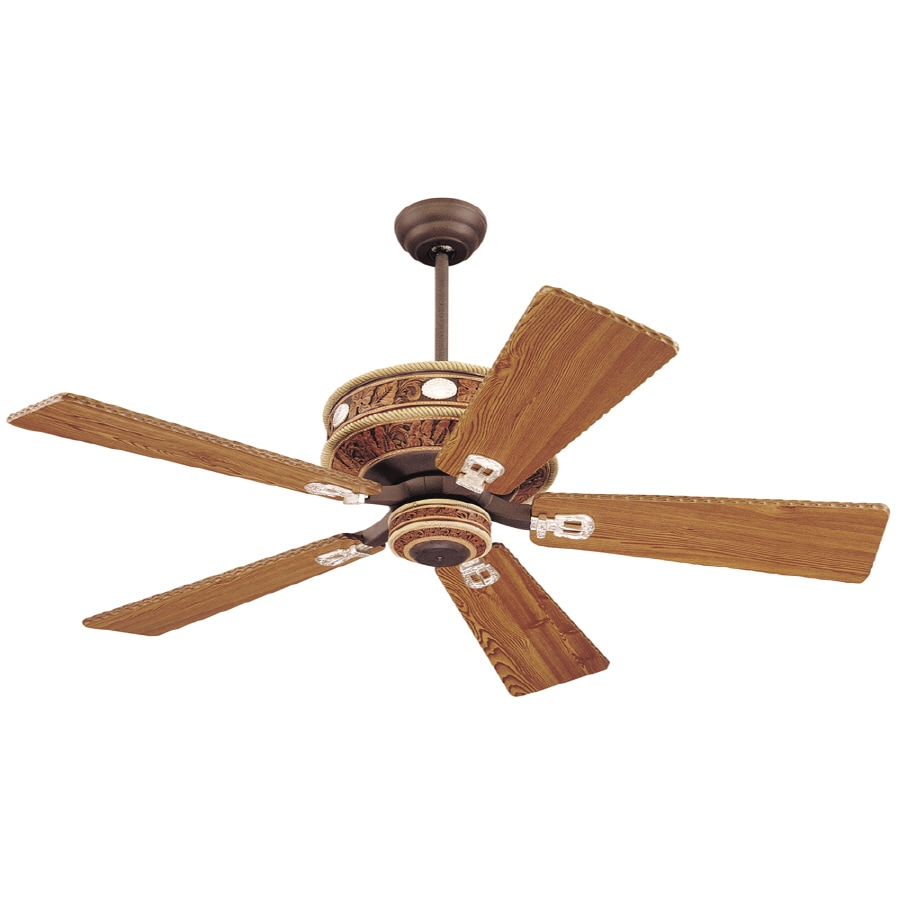 Monte Carlo Fan Company Durango 52-in Weathered Iron Downrod Mount Ceiling Fan with Remote
