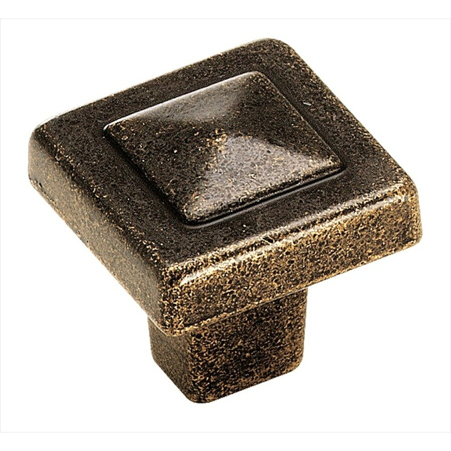 Amerock Forgings Weathered Brass Square Cabinet Knob