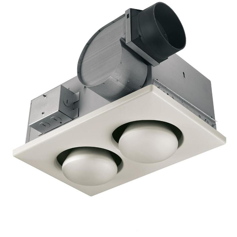 cfm white bathroom fan with integrated heater and light at