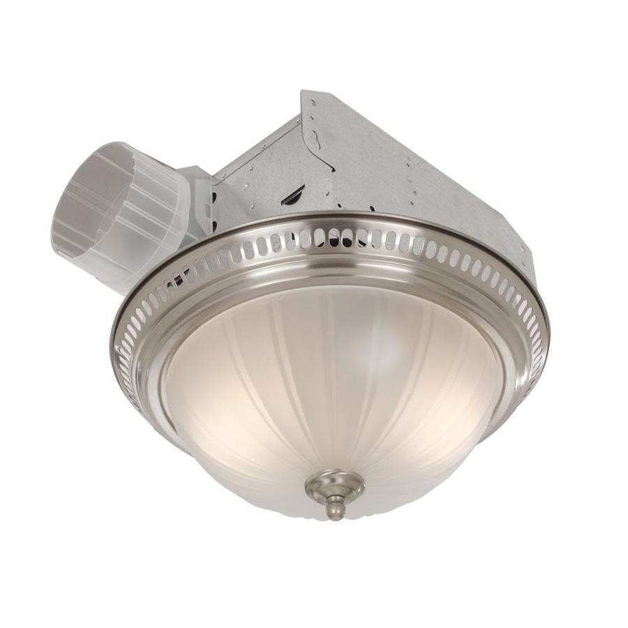 Broan 3.5-Sone 70-CFM Satin Nickel Bathroom Fan with Light