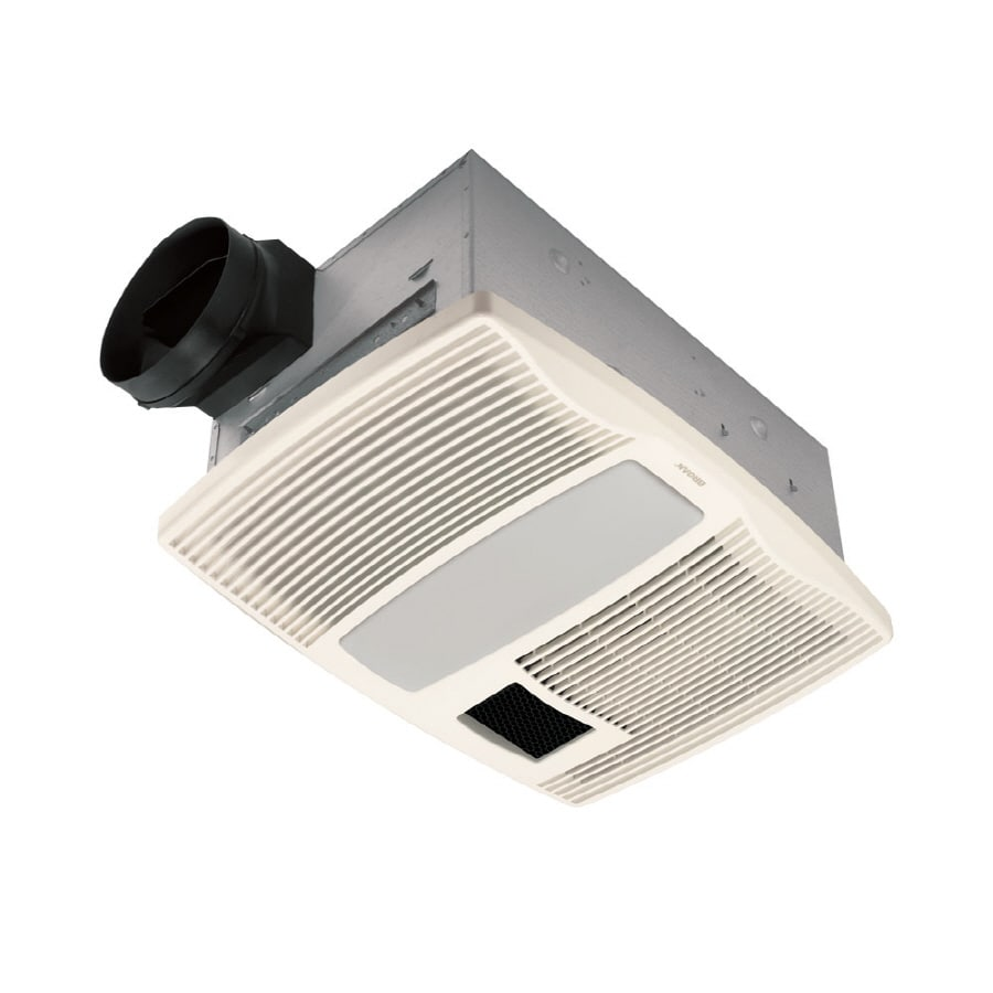 Broan 0.9-Sone 110-CFM White Bathroom Fan with Integrated Heater Incandescent and Light