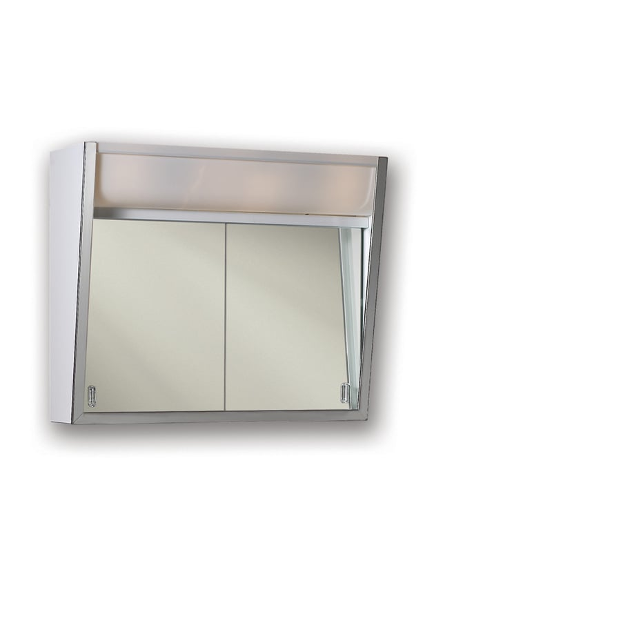 Broan Flair 28-in x 19.5-in Rectangle Surface Mirrored Steel Medicine Cabinet with Lights