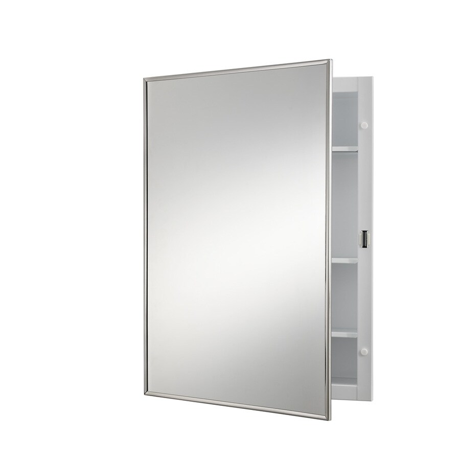 Broan Styleline 14-in x 20-in Rectangle Surface Mirrored Steel Medicine Cabinet