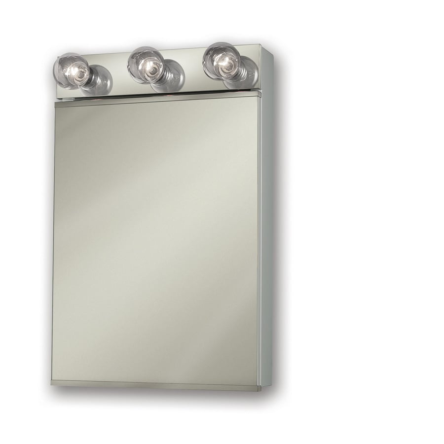 Broan Styleline Ii 18-in x 28-in Rectangle Surface Mirrored Steel Medicine Cabinet with Lights