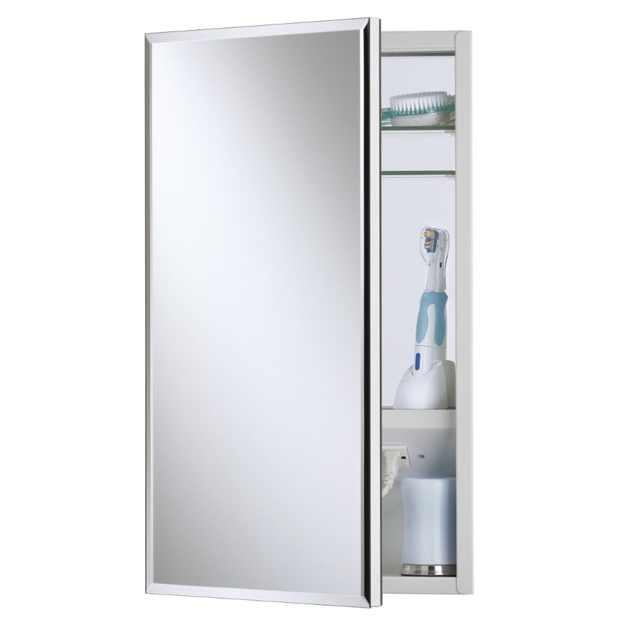 Broan Meridian 15-in x 35-in Rectangle Surface/Recessed Mirrored Steel Medicine Cabinet with Outlet