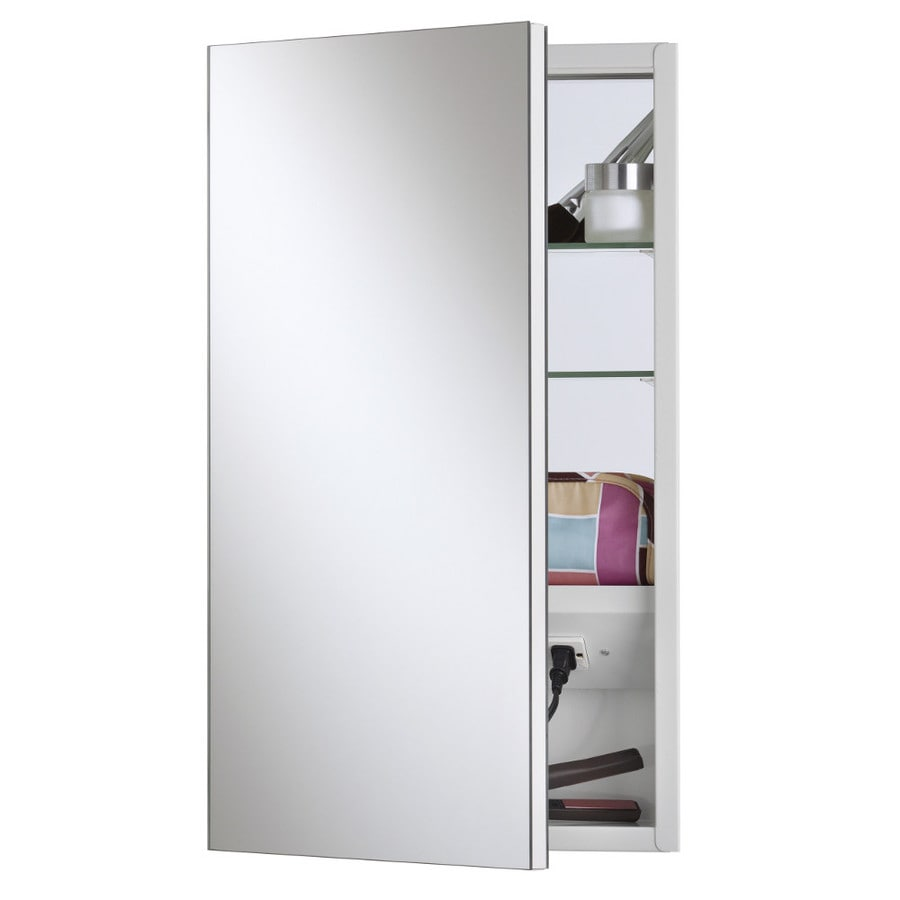 Broan Meridian 15-in x 25-in Rectangle Surface/Recessed Mirrored Steel Medicine Cabinet with Outlet