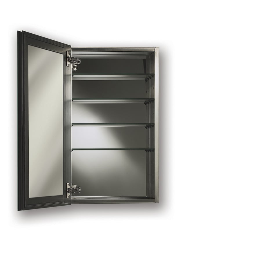 Broan Gallery 15-in x 25-in Rectangle Surface/Recessed Mirrored Stainless Steel Medicine Cabinet