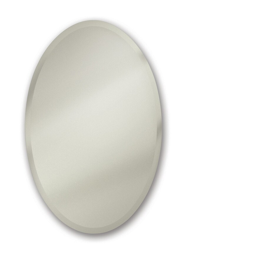 Broan Metro Oval 24-in x 35.875-in Oval Surface/Recessed Mirrored Steel Medicine Cabinet
