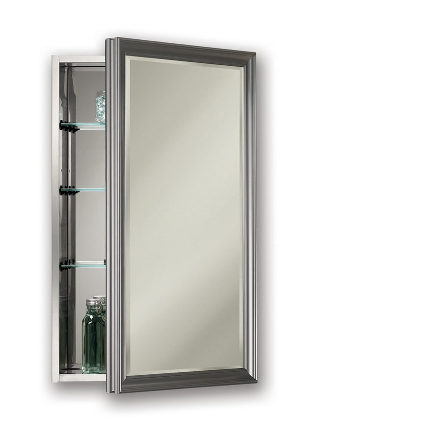 Broan Studio V 15-in x 35-in Rectangle Surface/Recessed Mirrored Stainless Steel Medicine Cabinet