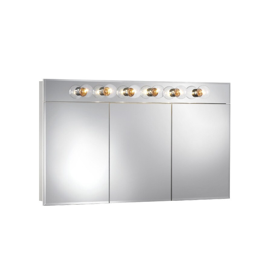 Broan Ashland 48-in x 28-in Rectangle Surface Mirrored Particleboard Medicine Cabinet with Lights