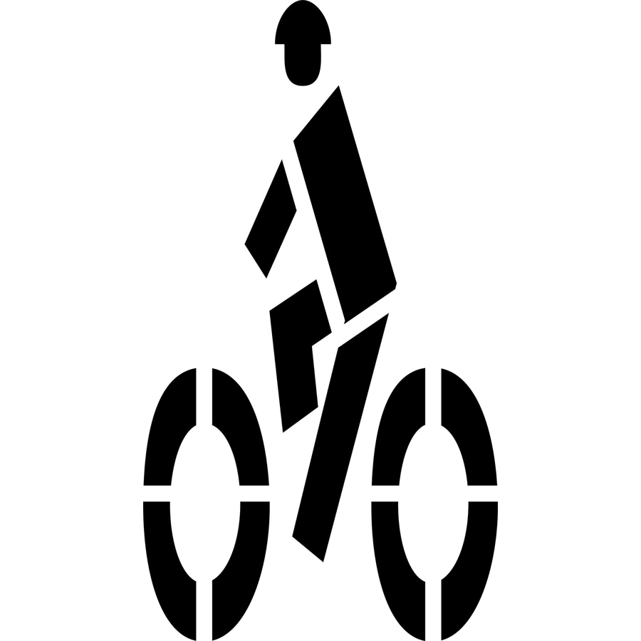 """Stencil Ease 72"""" Bicycle Symbol with Rider"""