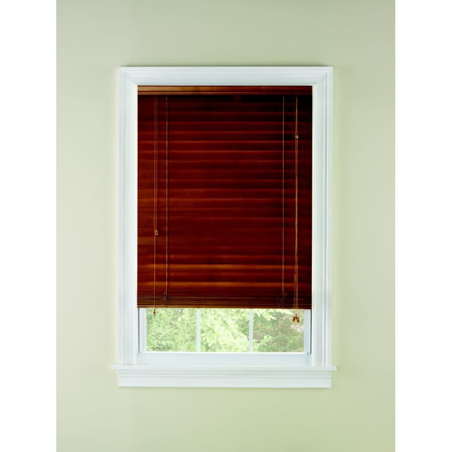 Custom Size Now by Levolor 60-in W x 64-in L Honey Oak Wood 2-in Slat Room Darkening Plantation Blinds