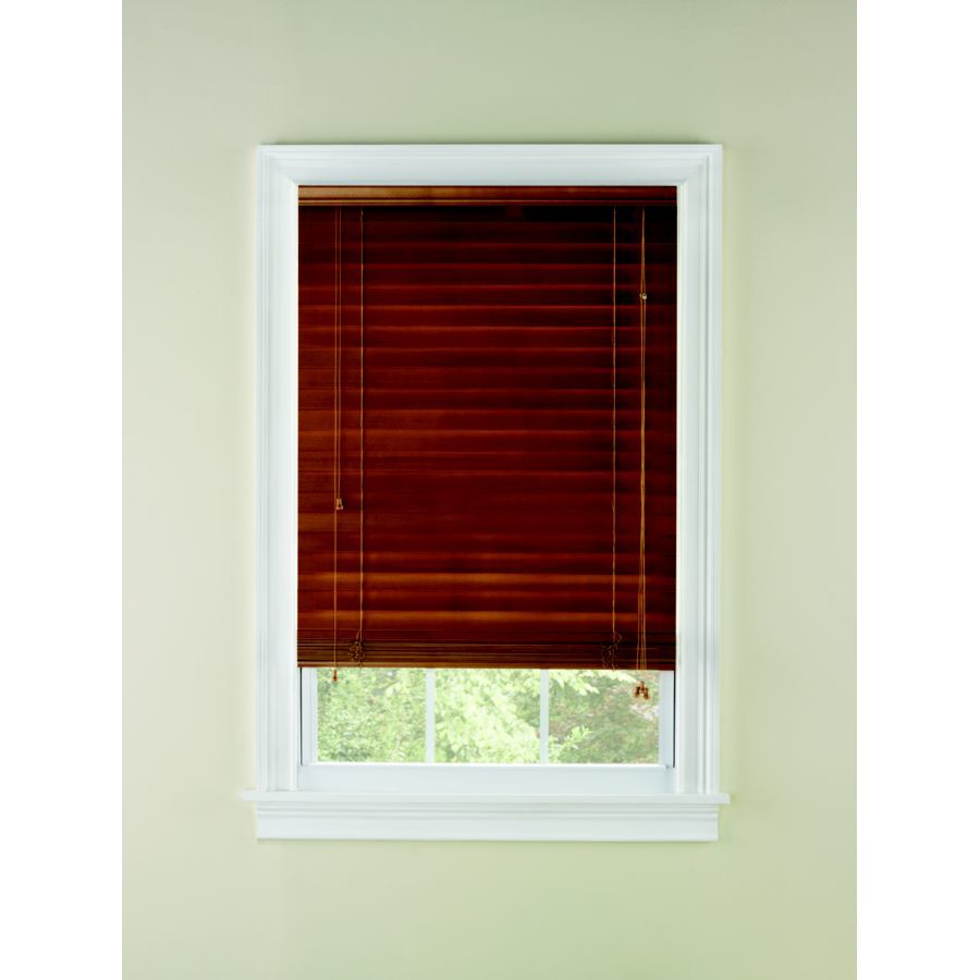 Custom Size Now by Levolor 72-in W x 64-in L Honey Oak Wood 2-in Slat Room Darkening Plantation Blinds
