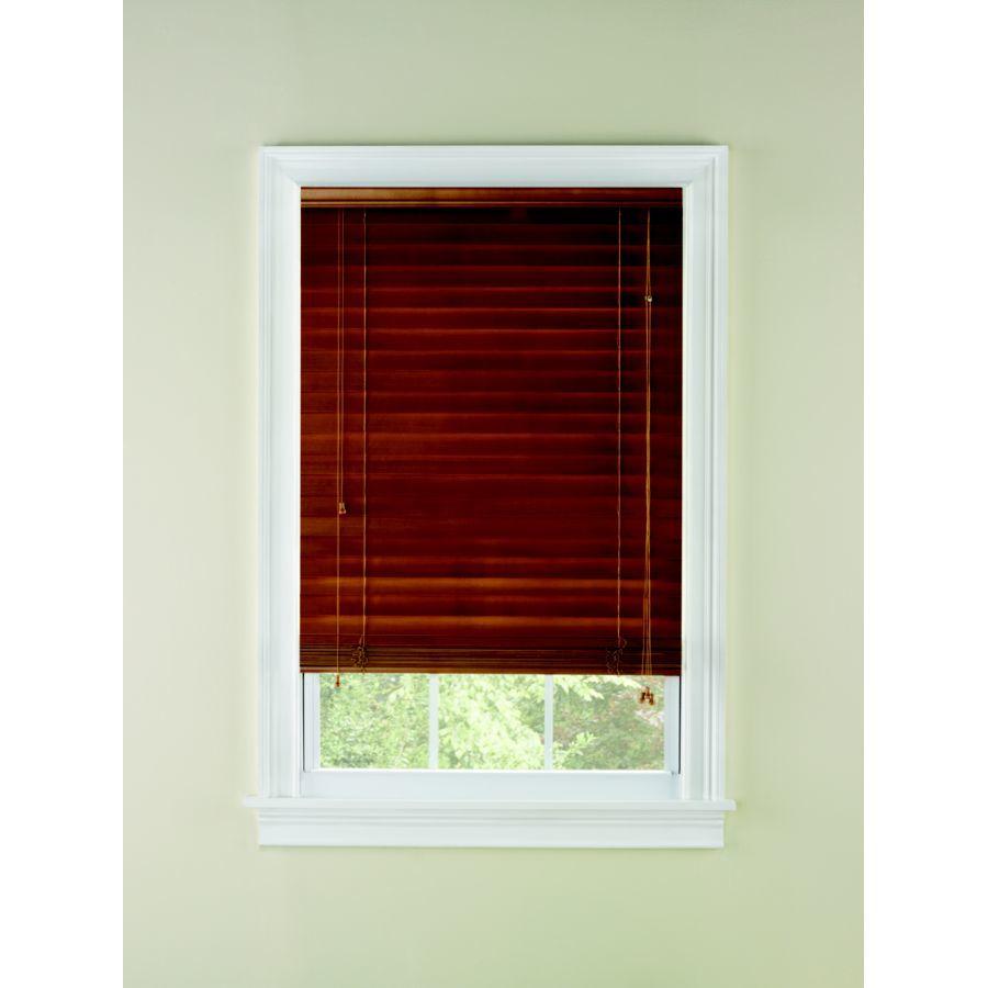 Custom Size Now by Levolor 72-in W x 72-in L Honey Oak Wood 2-in Slat Room Darkening Plantation Blinds