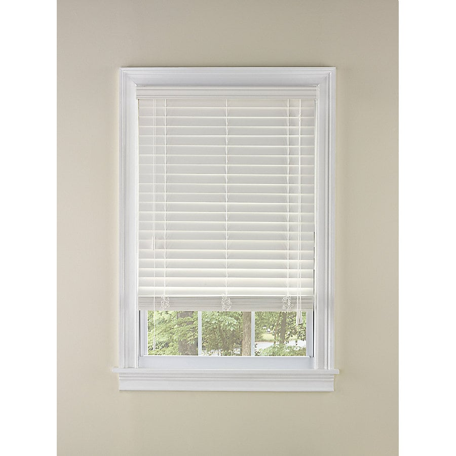 Custom Size Now by Levolor 65-in W x 72-in L Dover Faux Wood 2-in Slat Room Darkening Plantation Blinds