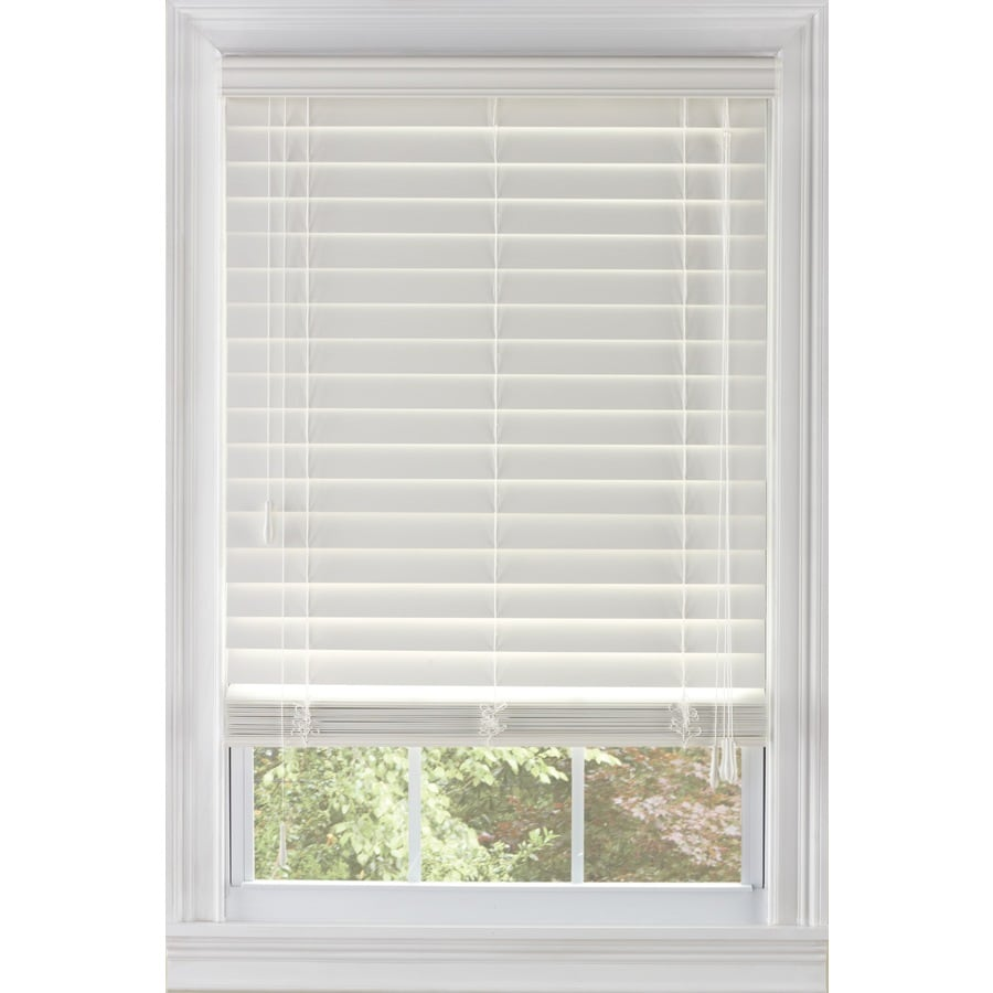 Custom Size Now by Levolor 62-in W x 72-in L White Faux Wood 2.38-in Slat Room Darkening Plantation Cordless Blinds