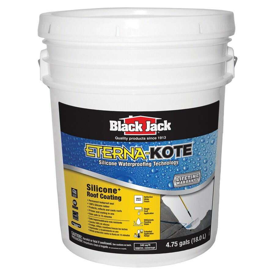 BLACK JACK Premium Silicone Waterproofing Coating 5-Gallon Silicone Reflective Roof Coating (50-Year Limited Warranty)