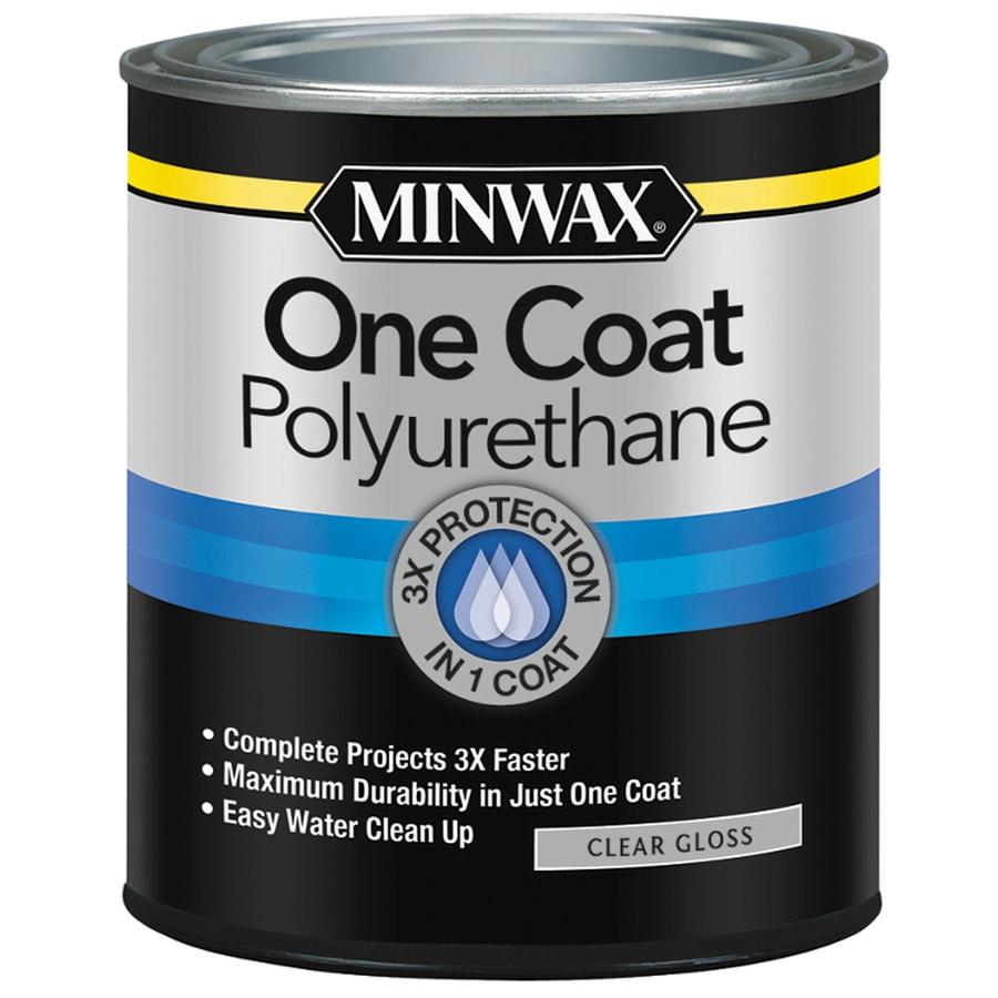 Shop Minwax One Coat Polyurethane Gloss Water Based 32 Fl Oz Polyurethane At